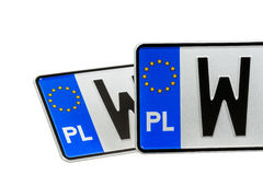 License Plates. European license plates marked from Poland Stock Images