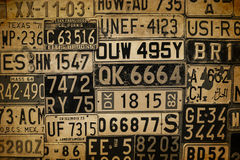 License Plates. Various retro License Plates on the wall Stock Images