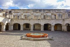 Santa Teresa De Jesus Monastery and Temple Courtyard in Old City Antigua Guatemala stock photos