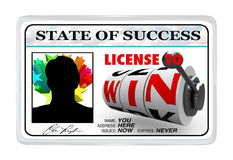 License to Win Laminated ID Card. A laminated ID card reading State of Success - License to Win giving you the power and opportunity to reach your goals and Royalty Free Stock Images