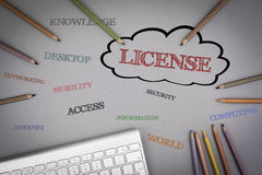 LICENSE word cloud. Colored pencils and a computer keyboard on t Stock Photos