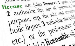 License word dictionary term. License word dictionary definition in great perspective Stock Photos