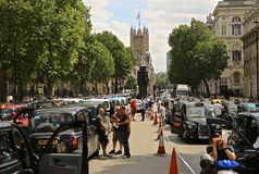 Licensed Black Taxis demonstrating against Uber & TfL in Whitehall London - 10th November 2014 Royalty Free Stock Images