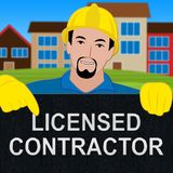 Licensed Contractor Showing Qualified Builder 3d Illustration. Licensed Contractor Shows Qualified Builder 3d Illustration Royalty Free Stock Image