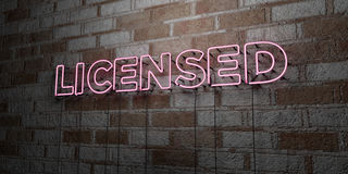 LICENSED - Glowing Neon Sign on stonework wall - 3D rendered royalty free stock illustration Stock Photo