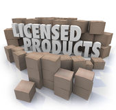 Licensed Products Official Authorized Merchandise. Licensed Products words among cardboard boxes to illustrate goods or merchandise that is official, authorized vector illustration