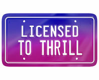 Licensed to Thrill Vanity Plate Exciting New Car Model Fun Drivi Stock Image