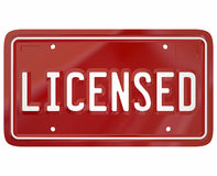 Licensed Word Plate Registered 3d Auto Vehicle Driver Licensing Royalty Free Stock Photography