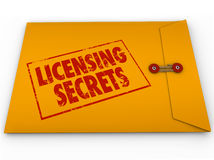 Licensing Secrets Yellow Envelope Help Advice. Licensing Secrets words on a yellow confidential classified envelope to illustrate help, tips, advice and vector illustration