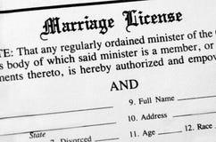 Licenza di matrimonio Immagini Stock
