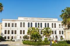 Liceo Classico Vittorio Emanuele II en Palermo en Sicilia, Italia Fotografía de archivo