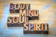 Lichaam, mening, ziel en de samenvatting van het geestwoord stock foto's