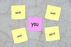 Lichaam, mening, ziel, geest en u stock afbeelding