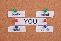 Lichaam, mening, ziel, geest en u royalty-vrije stock foto