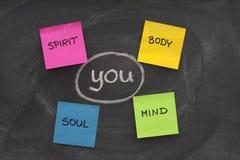 Lichaam, mening, ziel, geest en u Stock Foto