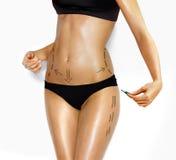 Lichaam van vrouw voor correctie kosmetische chirurgie Stock Afbeeldingen