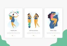 Lichaams positieve meisjes met gezonde levensstijl voor plaats, landingspagina of banner vector illustratie