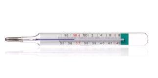 Lichaamsthermometer die gezonde menselijk lichaamstemperatuur 36.6 gradis Celsius en 98.6 rangen geïsoleerde Fahrenheit tonen, Stock Foto