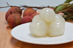Lichee Asian fruit on dish Stock Images