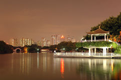 Lichee park by night. Lichee park in Shenzhen city, Guangdong province, China. Beautiful lake by night Stock Photos