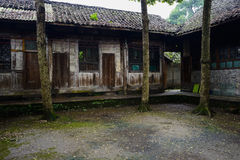 Lichen-covered courtyard of ancient Chinese dwelling buildings a Royalty Free Stock Photography
