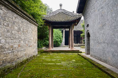 Lichen-covered flagstone paved path in ancient Chinese buildings Royalty Free Stock Photos