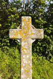 Lichen covered gravestone Royalty Free Stock Photography