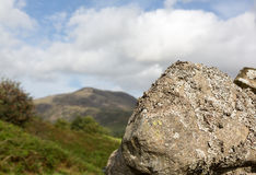 Lichen covered rock in Lake District Royalty Free Stock Photos