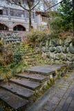 Lichen-covered stone stairway Stock Photo