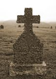 Lichen Covered Tombstone. Late 19th Century tombstone covered in lichen Stock Image