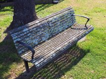 Lichen Growing on Park Bench royalty free stock images
