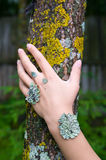Lichen on the hand Stock Photos