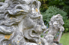 Lichen Weathered Lion Statues Stock Photos