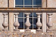 Lichene su Balustrading di pietra Fotografia Stock