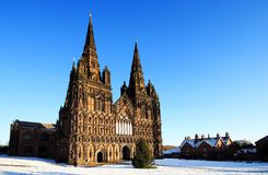 Lichfield cathedral. On a cold clear snowy day Stock Photography