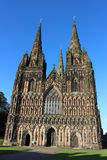 Lichfield Cathedral, Lichfield, Staffordshire. View of the front of Lichfield Cathedral in Lichfield, Staffordshire, United Kingdom showing the architecture and Royalty Free Stock Photography