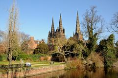Lichfield Cathedral and remembrance gardens. Royalty Free Stock Image