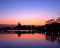 Lichfield Cathedral at sunset, England. Royalty Free Stock Photography