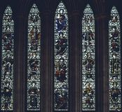 Interiors of Lichfield Cathedral - Stained Glass in North Transe stock photos