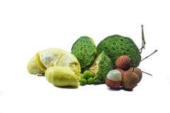 Lichi, durian, semente dos lótus Foto de Stock