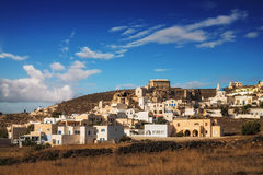 Licht Akrotiri-Dorfs morgens, Santorini-Insel stockfoto