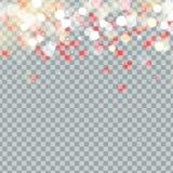 Licht bokeh en Hart van Valentijnskaartenbloemblaadjes die op transparante achtergrond vallen Bloembloemblaadje in vorm van hartc vector illustratie