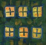 Licht in de vensters van het huis Landschap met rivier en bos royalty-vrije stock fotografie