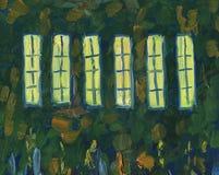 Licht in de vensters van de kerk Landschap met rivier en bos royalty-vrije stock foto's