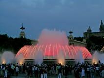 Licht en muziek bij Magische Fontein van Montjuïc Stock Afbeelding