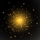 Licht gouden gloed speciaal effect Vector illustratie Stock Afbeeldingen