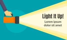 Licht het omhoog conceptenbanner, vlakke stijl vector illustratie