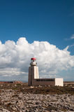 Licht house of Sagres in Portugal. Light house on the rocky terrain of Fortaleza de Sagres in Portugal Royalty Free Stock Image