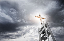 Licht kruis op donkere hemel Royalty-vrije Stock Afbeelding
