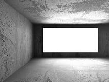 Licht leeg banneraanplakbord in donkere concrete interio van de murenruimte Stock Foto's